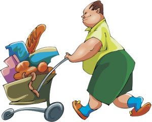 Carting off groceries.